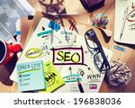 desk with notes about seo | Shutterstock . vector #196838036
