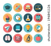 set of modern vector school... | Shutterstock .eps vector #196841126