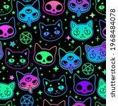cute cartoon witchcraft cat... | Shutterstock .eps vector #1968484078