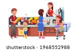 father with boy child putting... | Shutterstock .eps vector #1968552988