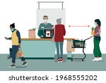 a grocery store cashier ... | Shutterstock .eps vector #1968555202