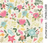 beautiful floral seamless... | Shutterstock .eps vector #196861688
