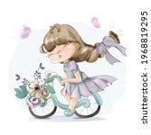 lovely girl painting watercolor ... | Shutterstock .eps vector #1968819295