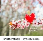 Red Wooden Heart On The Branch...