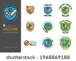 covid 19 vaccination logo badge ... | Shutterstock .eps vector #1968869188