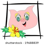 framed happy pig with yellow... | Shutterstock . vector #19688839