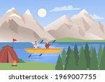 kayak travel adventure  water... | Shutterstock .eps vector #1969007755