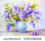 lilacs branches in a vase  oil... | Shutterstock . vector #1969108468