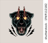 angry panther tattoo vector... | Shutterstock .eps vector #1969112182