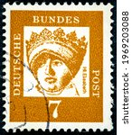Small photo of GERMANY - CIRCA 1961: a postage stamp from Germany, showing a portrait of the important German princess and landgrave of St. Elisa