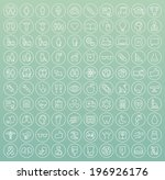 set of 100 minimal white stroke ... | Shutterstock .eps vector #196926176