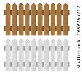 wooden fence set on white... | Shutterstock .eps vector #1969265212