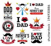 happy fathers day  vintage... | Shutterstock .eps vector #196930886