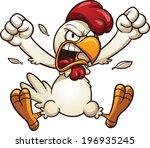angry cartoon chicken. vector... | Shutterstock .eps vector #196935245