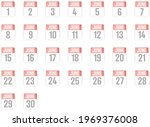 calendar icons with dates on... | Shutterstock . vector #1969376008