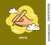 write with yellow pen holding... | Shutterstock .eps vector #1969393438