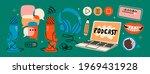 headphones  microphone  laptop  ... | Shutterstock .eps vector #1969431928