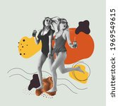 Small photo of Two beautiful girls in swimming suits on geometric light background. Contemporary art collage, modern design. Copy space for ad, text. Conceptual bright art collage. Party time, fun summer mood.