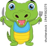 Cute Baby Crocodile Holding...