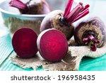 bunch of fresh beetroot on... | Shutterstock . vector #196958435