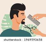 a man in a barbershop  a beard...   Shutterstock .eps vector #1969593658