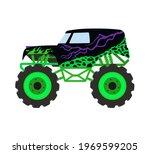 cartoon monster truck. big car... | Shutterstock .eps vector #1969599205