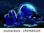 unusual fairy mushrooms on the... | Shutterstock .eps vector #1969684105