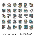 set of home security thin line... | Shutterstock .eps vector #1969685668
