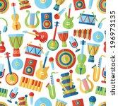 seamless musical pattern. flat... | Shutterstock .eps vector #196973135