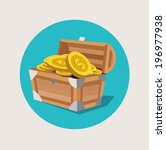treasure chest with golden... | Shutterstock .eps vector #196977938