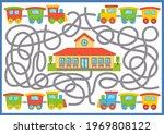 maze game with train. cartoon... | Shutterstock .eps vector #1969808122