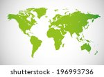 World Map  Green Isolated