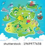 game map. pirate treasure maps... | Shutterstock .eps vector #1969977658