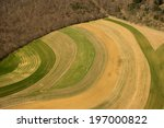 Aerial view of farm fields using traditional strip cropping