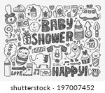 doodle baby background | Shutterstock .eps vector #197007452