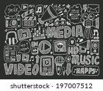 doodle media background | Shutterstock .eps vector #197007512