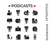 podcasts glyph icons set....