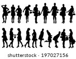 vector silhouette of a woman... | Shutterstock .eps vector #197027156