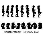 vector silhouettes girl in... | Shutterstock .eps vector #197027162