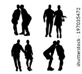 vector silhouette of people who ... | Shutterstock .eps vector #197035472