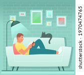 happy man is reading a book... | Shutterstock .eps vector #1970474765