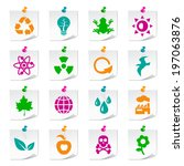 set of universal ecology icons... | Shutterstock .eps vector #197063876