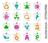 set of universal ecology icons... | Shutterstock .eps vector #197064986