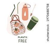 plastic free. cute eco... | Shutterstock .eps vector #1970688758