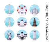 famous indonesia landmarks flat ... | Shutterstock .eps vector #1970806208
