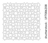 puzzle template 169 pieces... | Shutterstock .eps vector #197086208