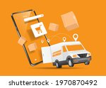 a delivery car and a delivery...   Shutterstock .eps vector #1970870492