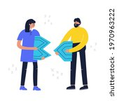 people connecting puzzle... | Shutterstock .eps vector #1970963222