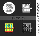 Picnic Cutlery Dark Theme Icon. ...