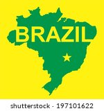 brazil vector  map on yellow | Shutterstock .eps vector #197101622